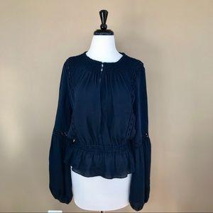 • Intermix • Crochet Detail Silk Blouse Navy M